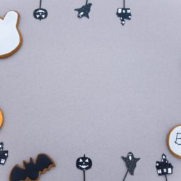 halloween decors on gray background
